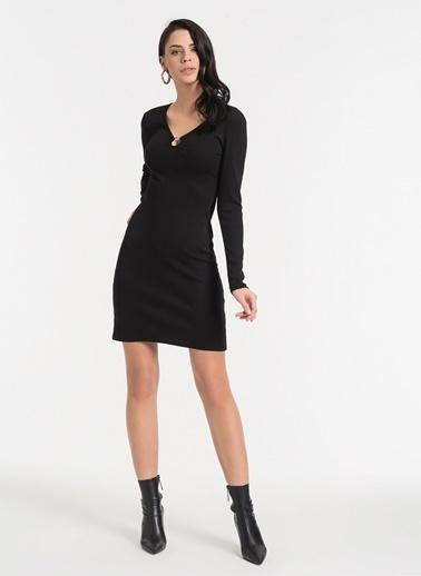 Styletag Yakası Detaylı Elbise Siyah